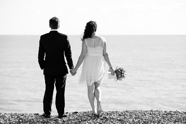 Wedding couple on Hythe beach
