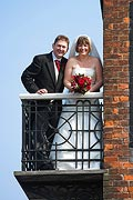 wedding couple at the Bell Hotel in Sandwich Kent